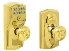 Camelot Bright Brass Keypad Entry with Flex Lock with Georgian Interior Knob