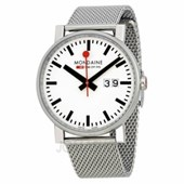 Mondaine Swiss Railways Evo White Dial Stainless Steel Mesh Mens Watch A6273030311SBM