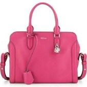 Alexander McQueen	 Small Skull Padlock Leather Satchel Bag, Pink