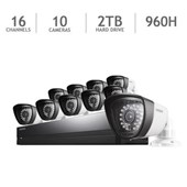 Samung 16 Channel 960H Security System with 2TB HD and 10 720TVL Cameras