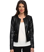 Calvin Klein Solid PU Jacket w/ Zipper Closure & Zipper Detail