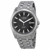 Citizen Corso Eco Drive Black Dial Stainless Steel Mens Watch BM7100-59E