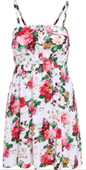 White Spaghetti Strap Buttons Floral Dress
